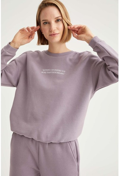 Defacto Yazı Baskılı Relax Fit Sweatshirt