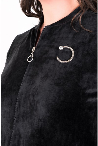 Kifayet Kadın Siyah Broş Detaylı Kadife Eşofman Takımı