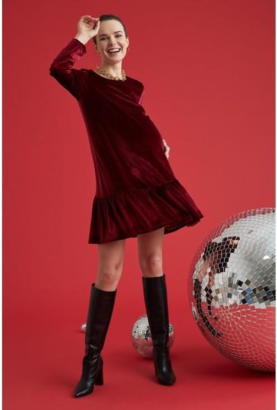 Hamile Volan Detaylı Kadife Elbise