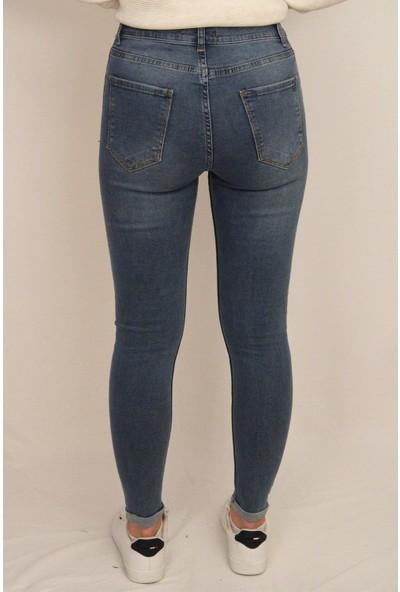 Pavor Kadın Likralı Duble Paça Skinny Jeans Mavi