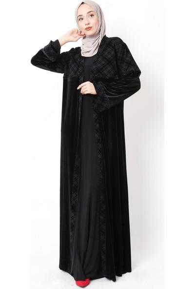 Güzey Ekoseli Taşlı Kadife Abaya-Siyah