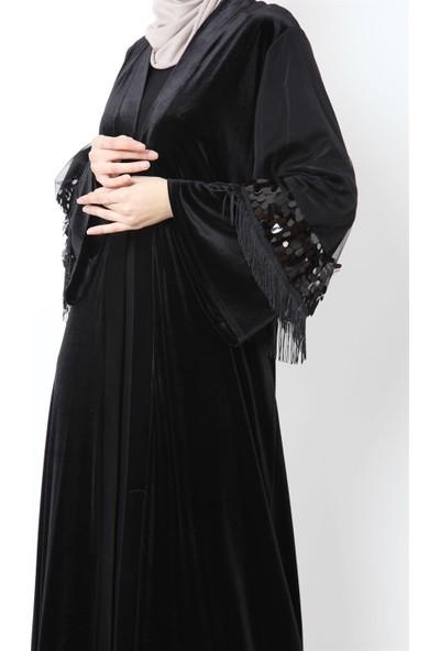 Güzey Kolları Payetli Püsküllü Kadife Abaya-Siyah