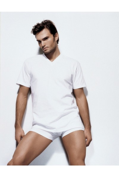 Çift Kaplan 6 Adet Erkek Beyaz Süprem V Yaka T-Shirt Fanila Abnçk 945