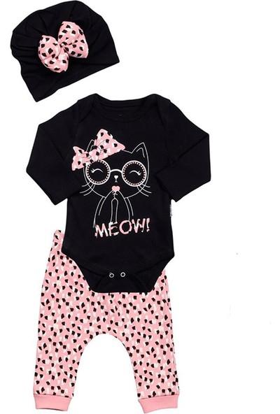 Bexkids Bebek Kedi Desenli Pembe Şapkalı Tulum