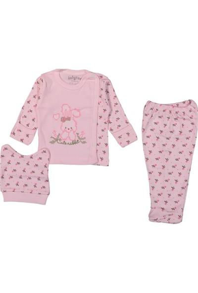 Babycan Kanaviçe Tavşanlı 0 - 3 Ay Kız Bebek Hastane Çıkışı Zıbın
