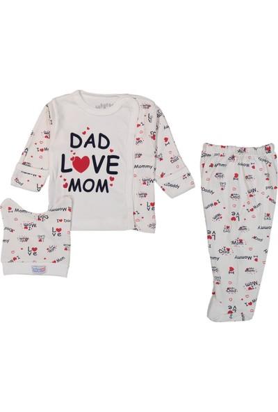 Babycan Dad Love Mom 0 - 3 Ay Patikli Bebek Hastane Çıkışı Zıbın