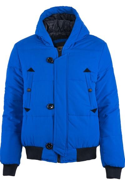 Stoncs Erkek Mavi Kapüşonlu Şişme Mont