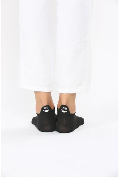 Miss Bella Kadın Siyah Emoj Desenli Çorap EM005