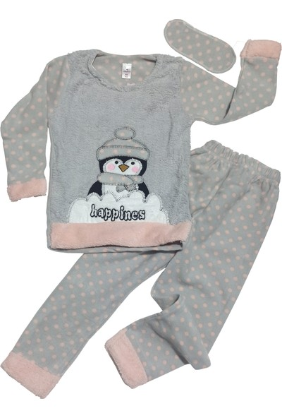 Lindros Penguen Nakışlı Peluş Kaplı Polar Kız Çocuk Pijama Takımı