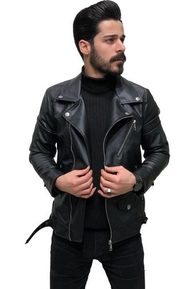 Dj Plus Erkek Siyah Deri Ceket Çapraz Yaka, Fermuarlı