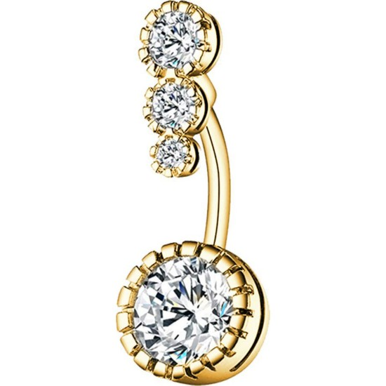Chavin Dört Sıra Taşlı Gold Göbek Piercing ED05SR