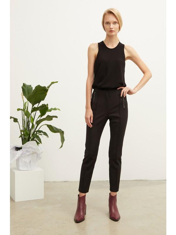 Love my body Kadın Metal Fermuar Detaylı Pantolon