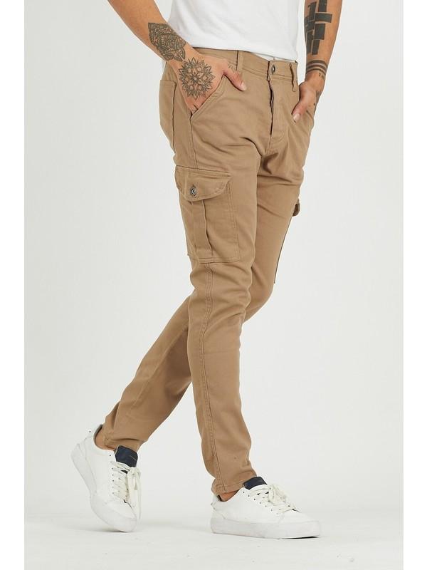 Damga Jeans Erkek Riklalı Kargo Cep Pantolon Camel