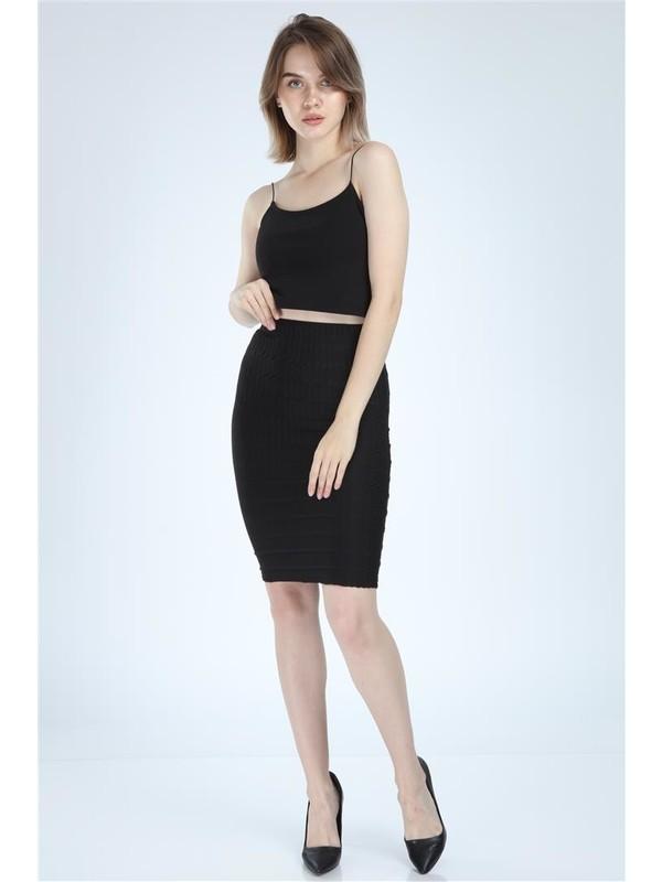 Meissa Fashion Kadın Siyah Kalem Etek