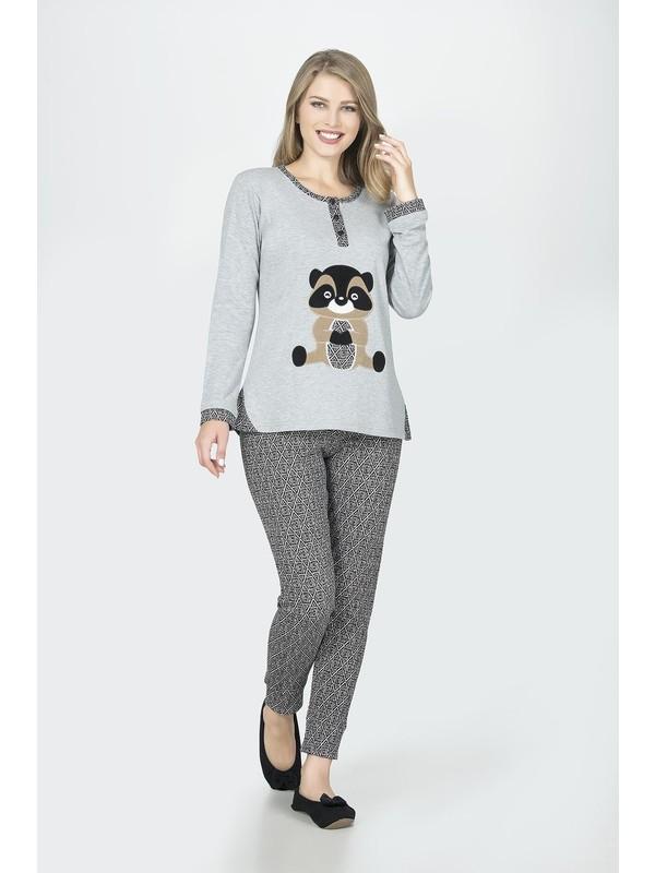 Dika Animal Baskılı Gri Pijama Takımı