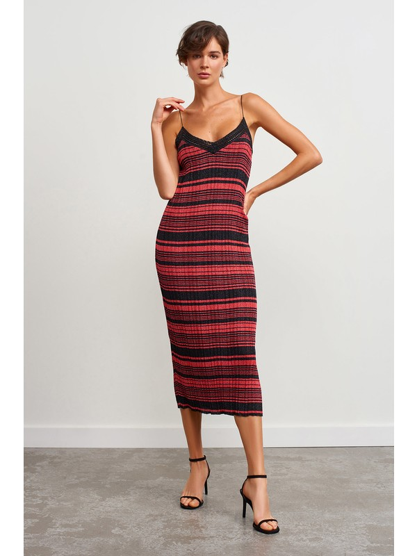 Join Us Çizgili Sim Detaylı Triko Elbise