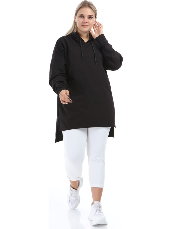 Big Free TB21KB258579 Siyah Kadın Tunik Sweat Kapşonlu Tunik