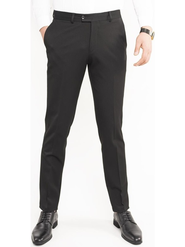 Apartro Kışlık Regular Fit Siyah Kumaş Pantolon
