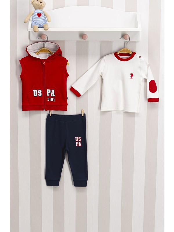 U.s. Polo Lisanslı 3'lü Erkek Bebek Takımı Kırmızı USB100