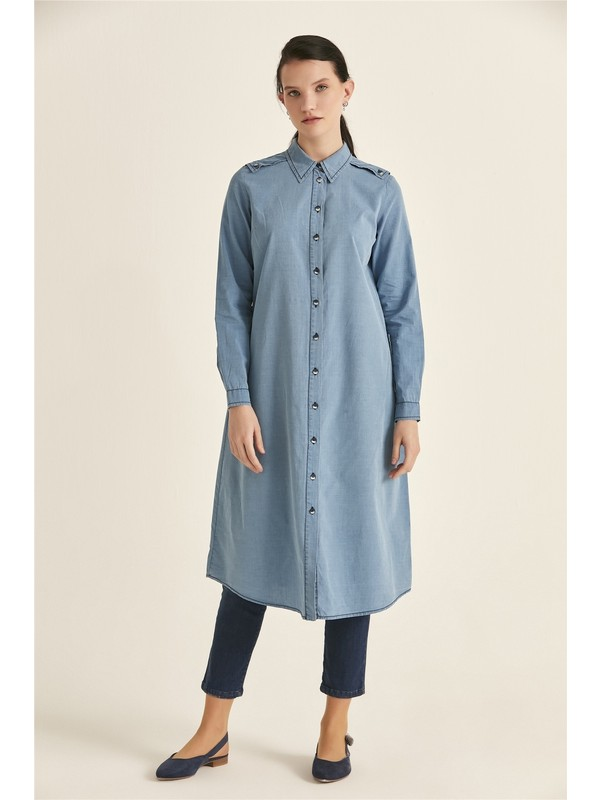 Accort S8-378 Nova Kadın Gömlek - Mavı