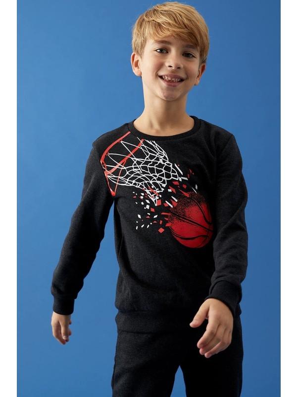 DeFacto Erkek Çocuk Baskılı Sweatshirt ve Jogger Eşofman Alt Takım