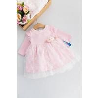 Babymod Güpürlü Penye Uzun Kollu Bebek Elbise