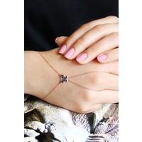 Argentum Concept Siyah Taşlı Kelebek Motifli Gümüş Şahmeran B055901