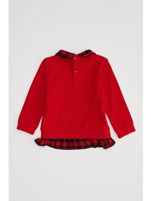 DeFacto Kız Bebek Regular Fit Tekli Sweatshirt S6793A220WN