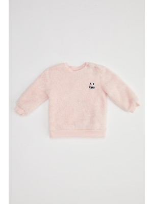DeFacto Kız Bebek Nakışlı Peluş Sweatshirt T0059A220WN