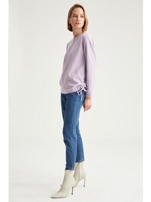 Defacto Yanları Büzgü Detaylı Relax Fit Sweatshirt T2456AZ20WN