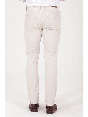 Bej Slim Fit Pantolon