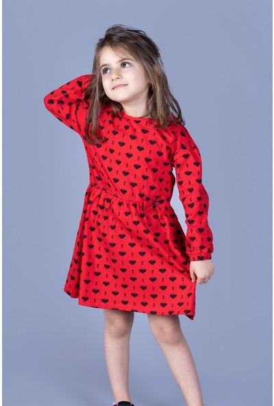 Toontoy Kız Çocuk Kalp Desenli Elbise