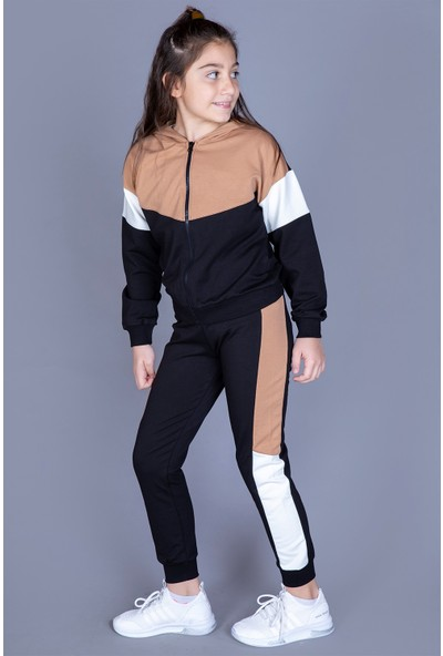 Toontoy Kız Çocuk Kapüşonlu Garnili Takım