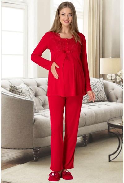Mecit Pijama Kadın Kırmızı Kadife Sabahlıklı Lohusa Pijama Takımı 5306