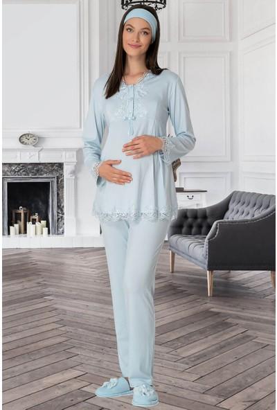 Mecit Pijama Kadın Mavi Lohusa Pijama Takımı 5309