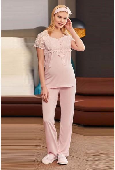 Mecit Pijama Kadın Pembe Güpürlü Lohusa Pijama Takımı 1818