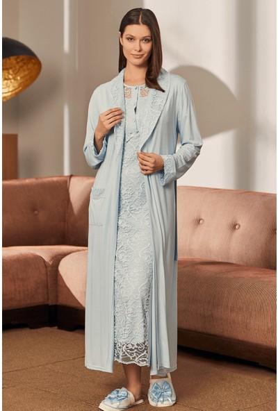 Mecit Pijama Kadın Mavi Dantel Kaplama Sabahlık Gecelik Takım 5226