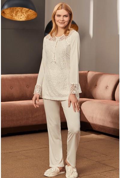 Mecit Pijama Kadın Ekru Dantelli Lohusa Pijama Takımı 5227