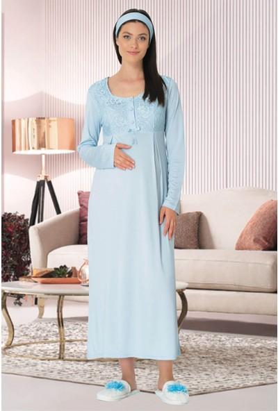 Mecit Pijama Kadın Mavi Hamile Lohusa Gecelik 5321