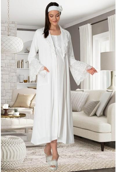 Mecit Pijama Kadın Ekru Sabahlıklı Lohusa Gecelik Takım 5354