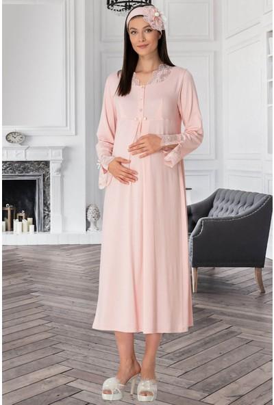 Mecit Pijama Kadın Pudra Hamile Lohusa Gecelik 5312