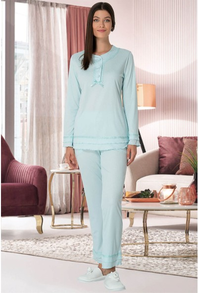 Mecit Pijama Kadın Turkuaz Hamile Lohusa Pijama Takımı 5320