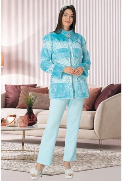 Mecit Pijama Kadın Turkuaz Peluş Detaylı Lohusa Pijama Takımı 5129