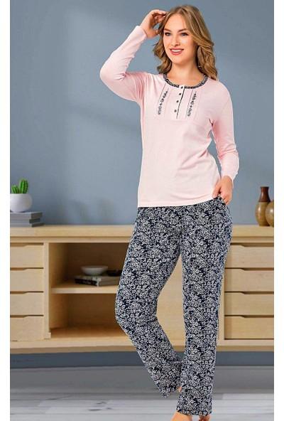 Alimer Pamuk Penyeuzun Kollu Kadın Pijama Takımı