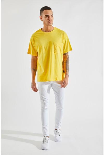 Zafoni Erkek Oversize Cepli Sarı Tişört P-00007954