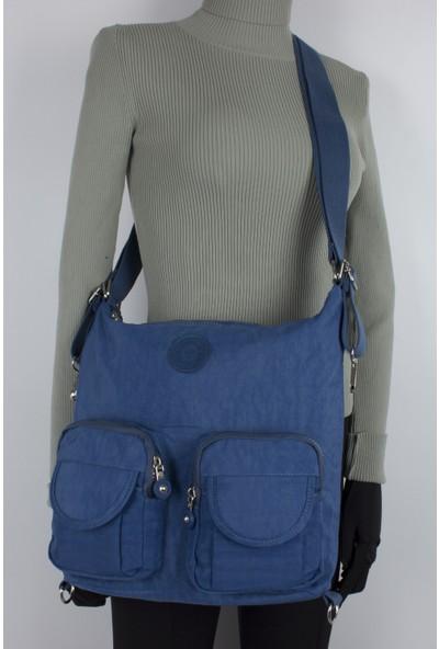 Kenyon 2198 Klinkır Kumaş Kadın Çapraz Omuz Çantası Mavi