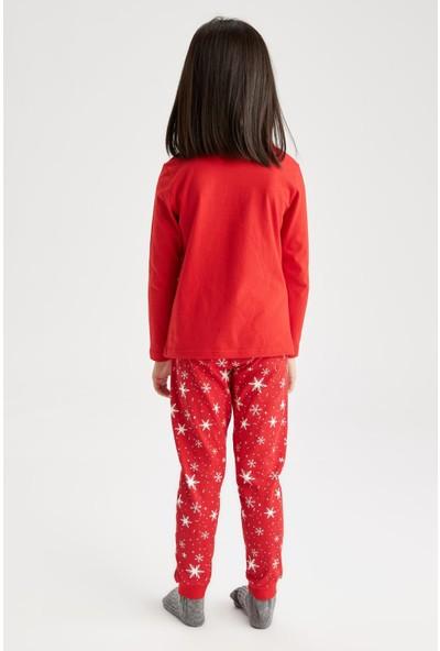 Defacto Kız Çocuk Yeni Yılbaşı Temalı Pijama Takım