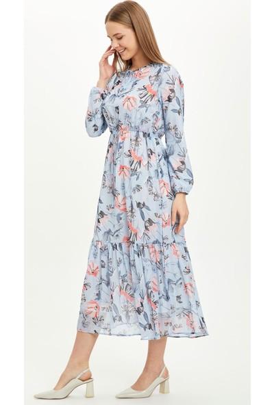 Defacto Kadın Desen Detaylı Dokuma Elbise