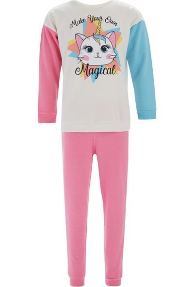 Defacto Kız Çocuk Unicorn Baskılı Sweatshirt Ve Jogger Eşofman Alt Takımı