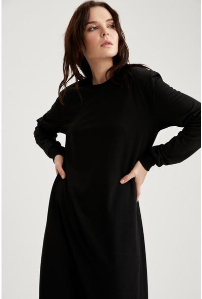 Defacto Kadın Dik Omuzlu Balon Kollu Uzun Elbise